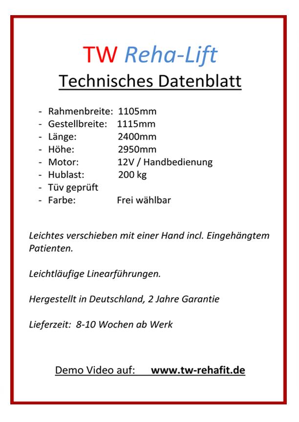 Reha-Lift_Technische Daten